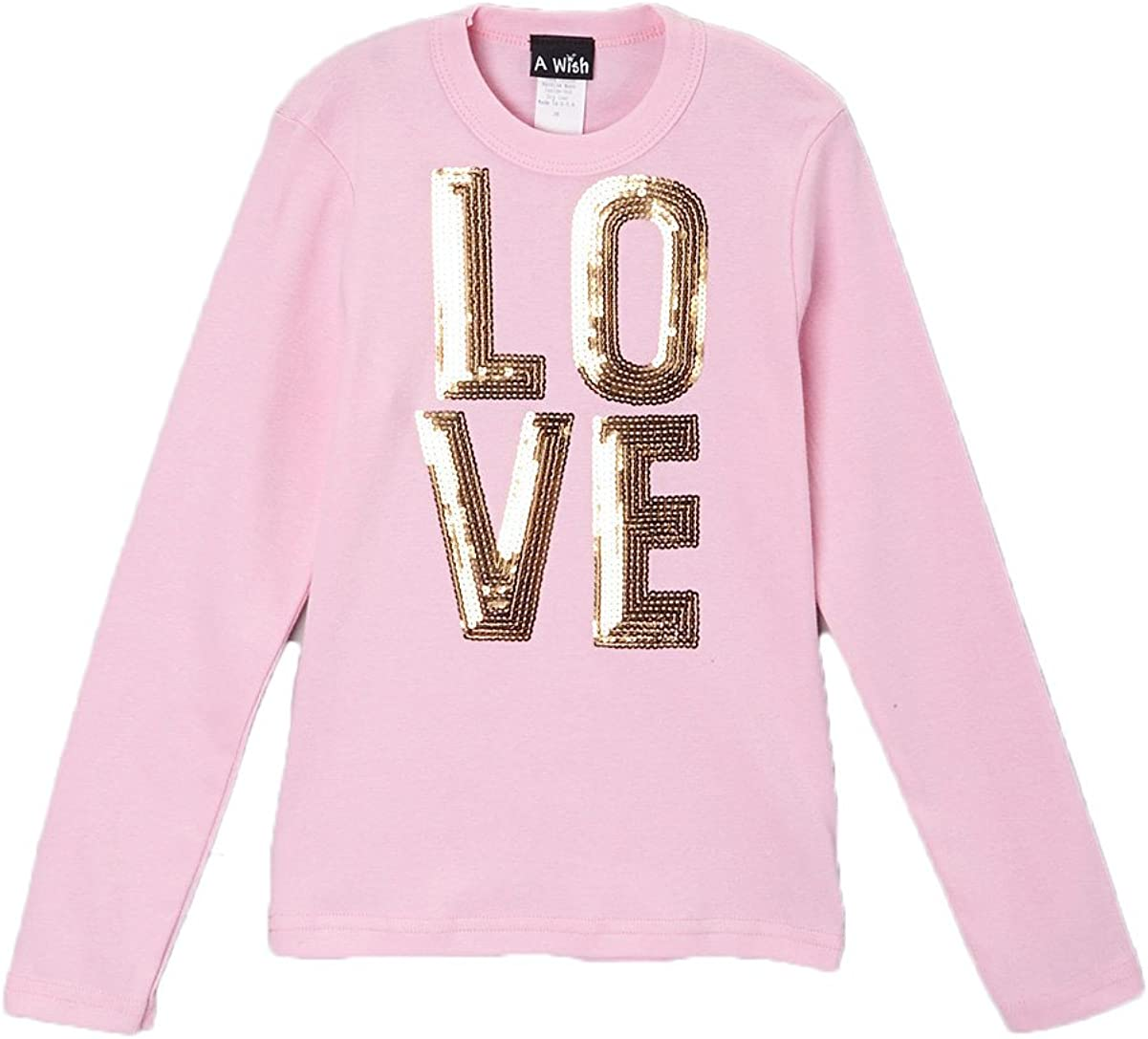 A Wish Pink Long Sleeve T With Gold Love Sequins