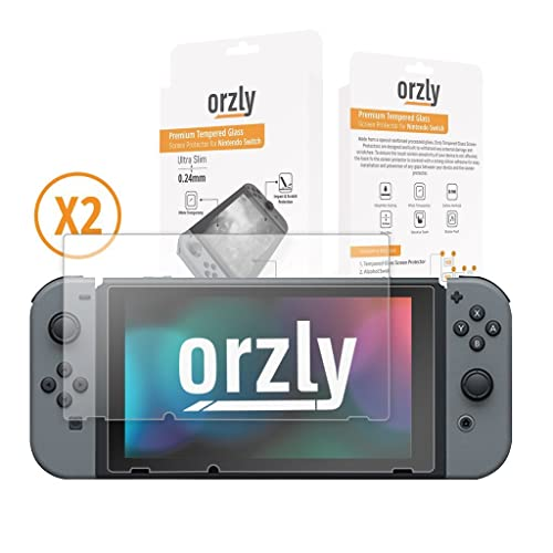 Screen Protector Nintendo Switch - Orzly Premium Tempered Glass [0.24mm] Screen Protector TWIN Pack [2 x Screen Guards] for 6.2 Inch Tablet Screen on Nintendo Switch Console