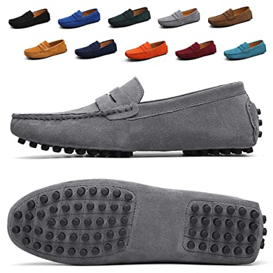 TSIODFO Mens Driving Penny Dress Loafers Suede Leather Driver Moccasins Slip On Shoes (2088-