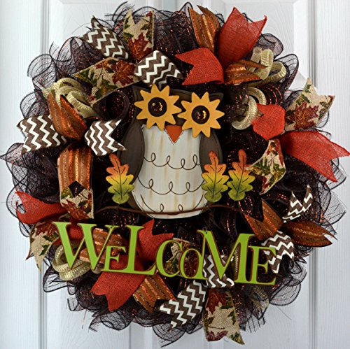 Fall Thanksgiving Welcome Owl Deco Mesh Wreath; Brown Green