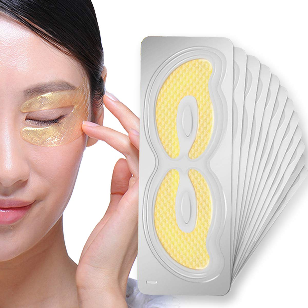 GARYOB Gold Eye Mask 24k Collagen Pads for Dark Circles Puffiness Treatment Natural with Wrinkle Care Anti Aging Mask Gift