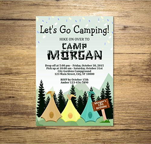 Amazon Com Camping Birthday Party Invitation Mountains And Pine