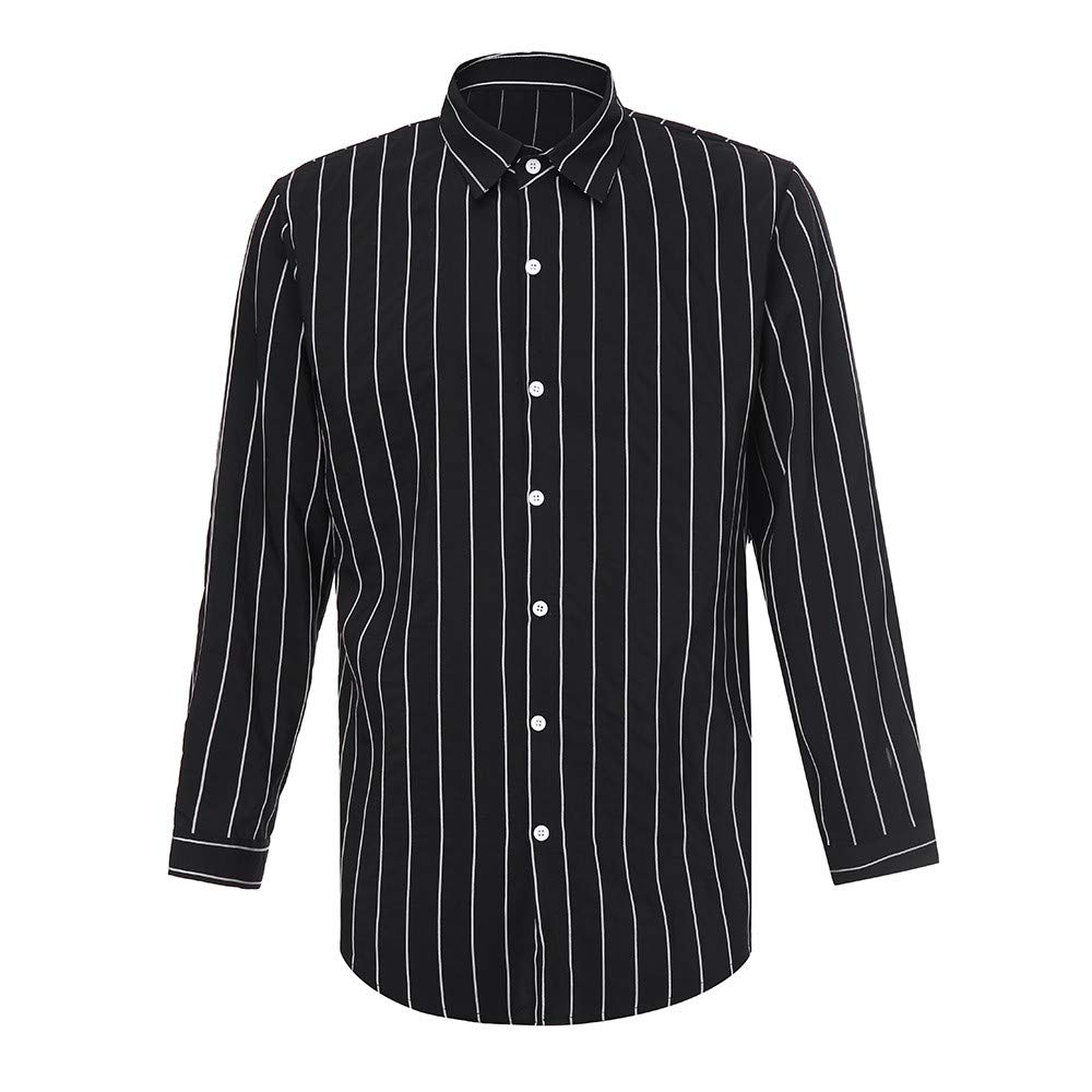 Corsion Mens Business Stripe Basic Blouse Male Long Sleeve Button Shirt Top