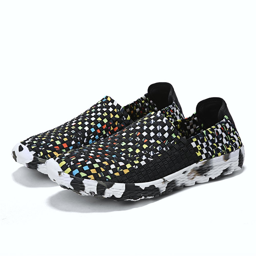 YMY Women's Woven Sneakers Casual Lightweight Sneakers - Breathable Running Shoes B07DXG24LV EU38/6 D(M) US Men|Black3