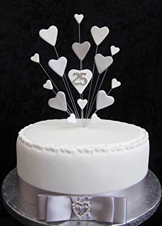 25th Silver Wedding Anniversary Birthday Cake Topper Suitable For A 20cm Amazoncouk Kitchen Home