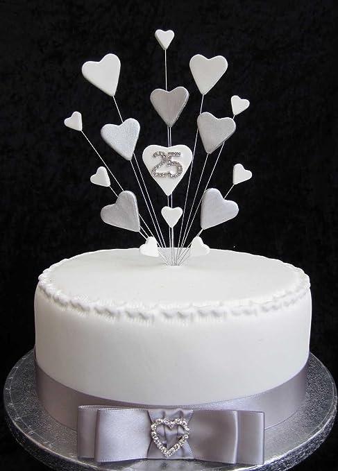 Karen S Cake Toppers Decorazione Per Torta Per 25 Anni Di