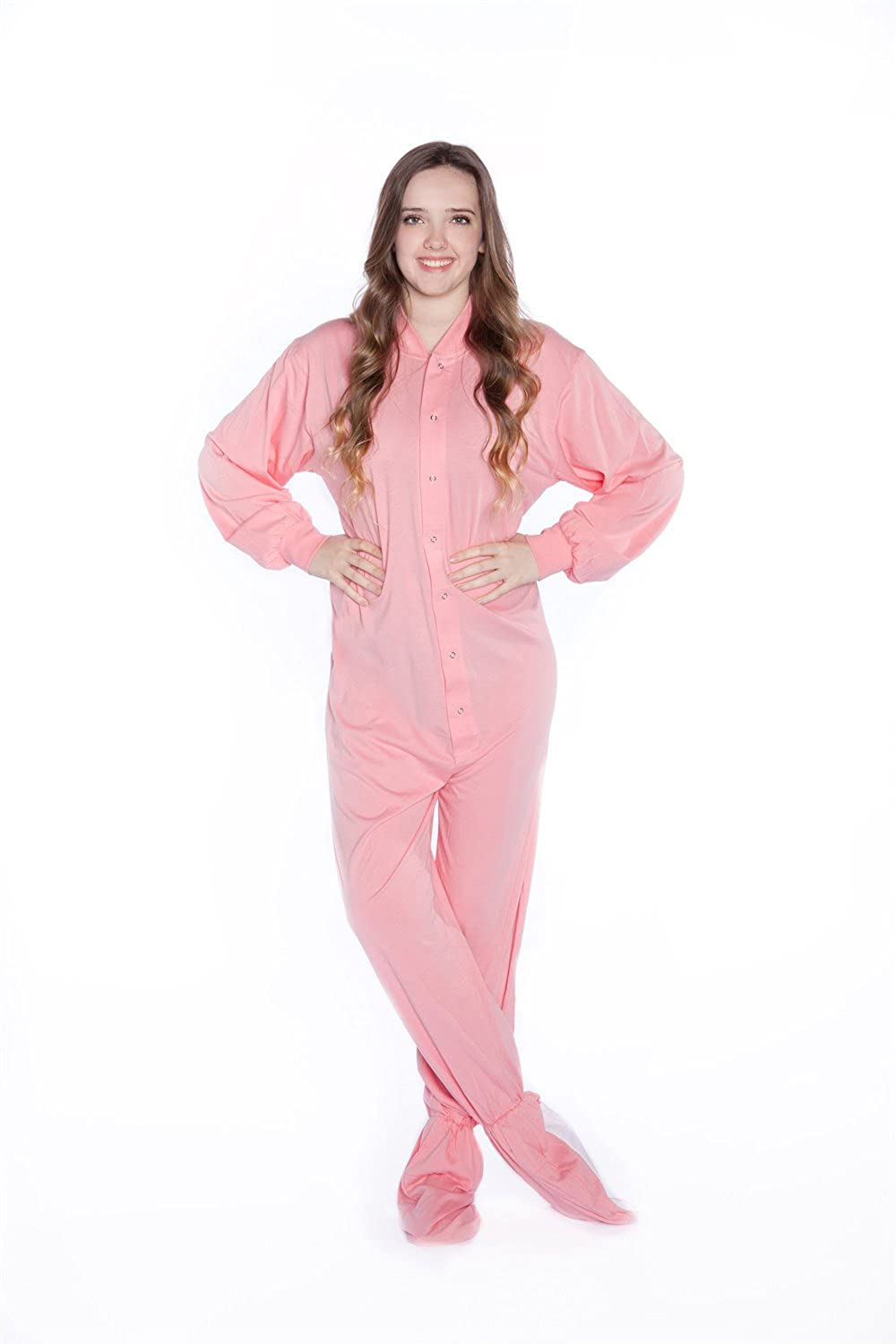 092fdf0a14ed Big Feet Pajama Co. Pink Jersey Knit Adult Footed Pajamas Womens ...