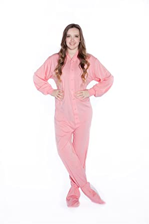 Big Feet PJs Pink Jersey Knit Adult Footed Pajamas No Drop Seat (XS)