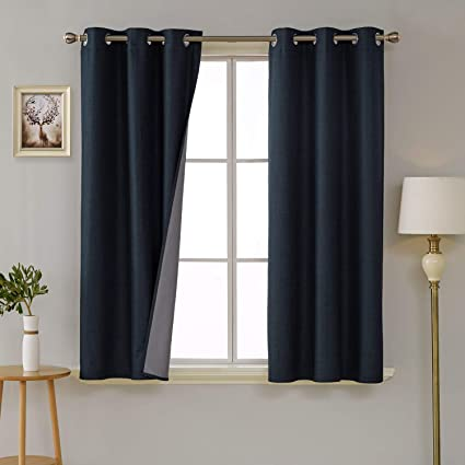 3 Pass Energy Efficient Thermal Insulated Coating Faux Linen Room Darkening Curtains For Dining 38 X 63 Inch Long Set Of 2 Curtain Panels Navy Blue