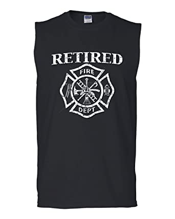 Retired Firefighter Muscle Shirt Fire Dept Volunteer Retirement