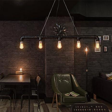 Lingkai Lámpara de techo industrial Vintage luz Edison rústico retro luz colgante Steampunk Metal tubo de agua luces (cinco luces)