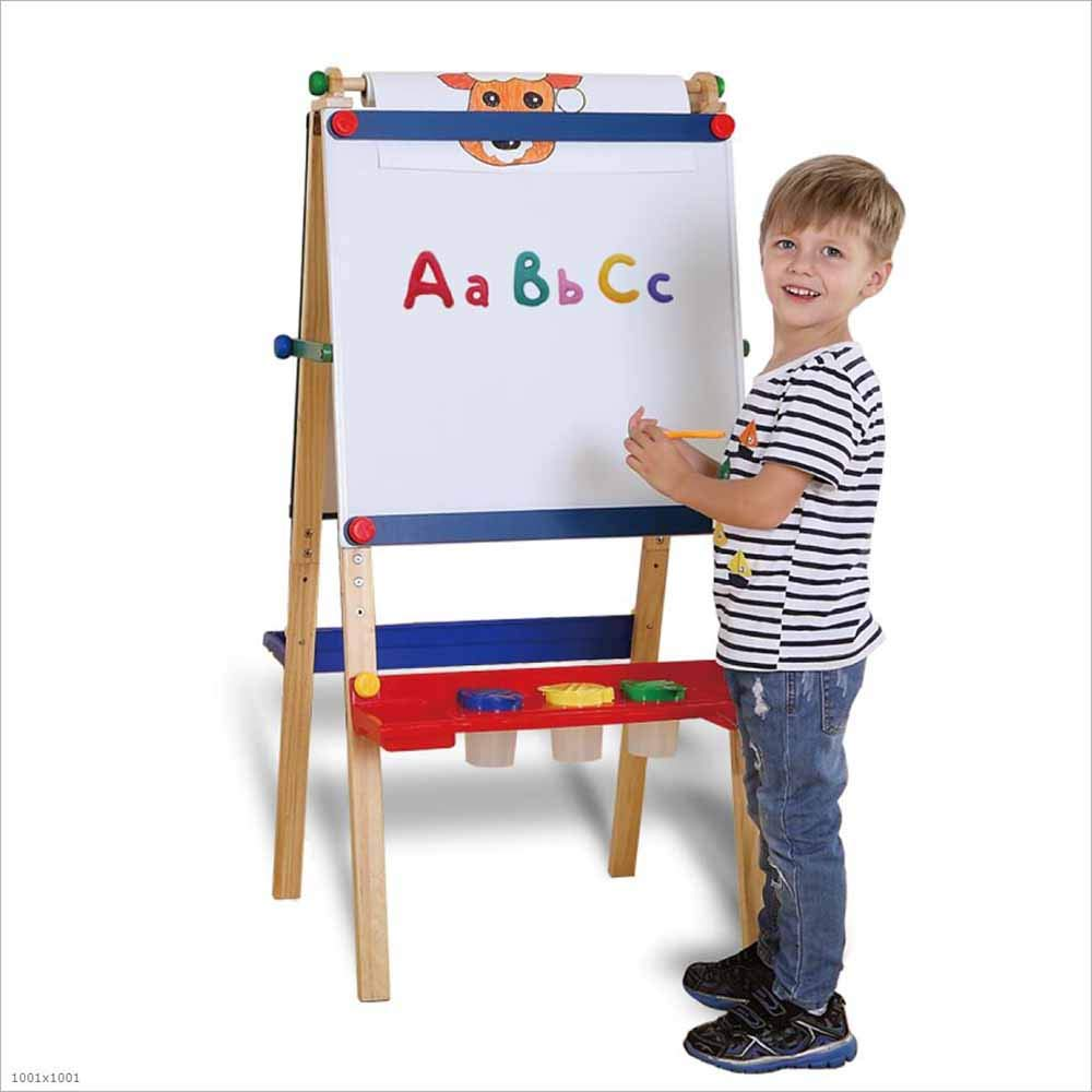 TX ZHAORUI Solid wood easel four-sided magnetic bracket type adjustable height art easel small blackboard for children to write painting