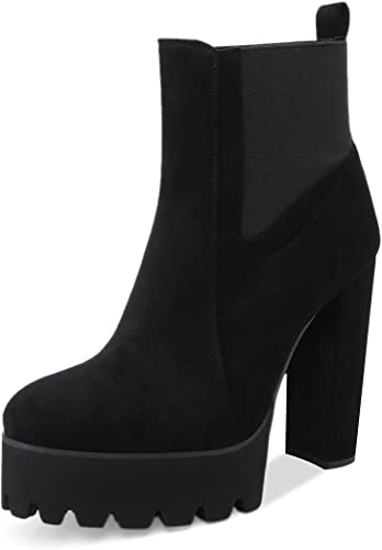Onlymaker Women\u0027s Comfy Elastic Platform Boots Round Toe Chunky High Heel  Pull on Ankle Booties