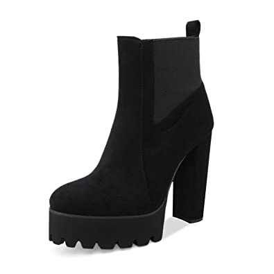 c93266ce1 Onlymaker Women's Comfy Elastic Platform Boots Round Toe Chunky High Heel  Pull on Ankle Booties Black