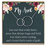 Dear Ava Aunt Necklace: Auntie, Aunt Gift, Aunt Charm, Aunt Jewelry, New Aunt, Best Auntie Ever, My Aunt Loves Me, 2 Interlocking Circles (silver-plated-brass, NA)