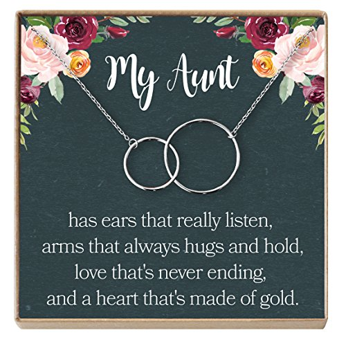 Dear Ava Aunt Necklace: Auntie, Aunt Gift, Aunt Charm, Aunt Jewelry, New Aunt, Best Auntie Ever, My Aunt Loves Me, 2 Interlocking Circles (silver-plated-brass, NA) by Dear Ava