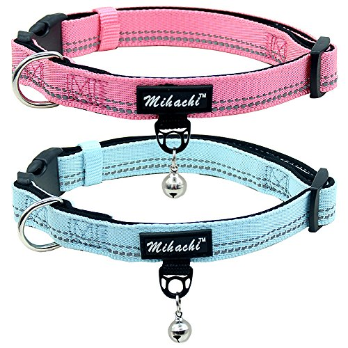 Dog Collar 2 Pack Adjustable Reflective Paded Collars for Medium Large Dogs, Neck Girth 14