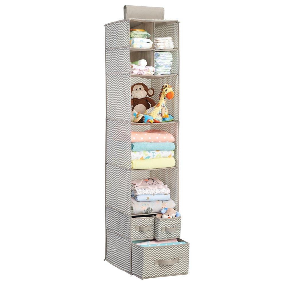 Baby Closet Organizer: MDesign Chevron Fabric Baby Nursery Closet Organizer