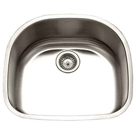 Houzer STS 1400 1 Eston Series Undermount Stainless Steel Single D Bowl  Kitchen Sink