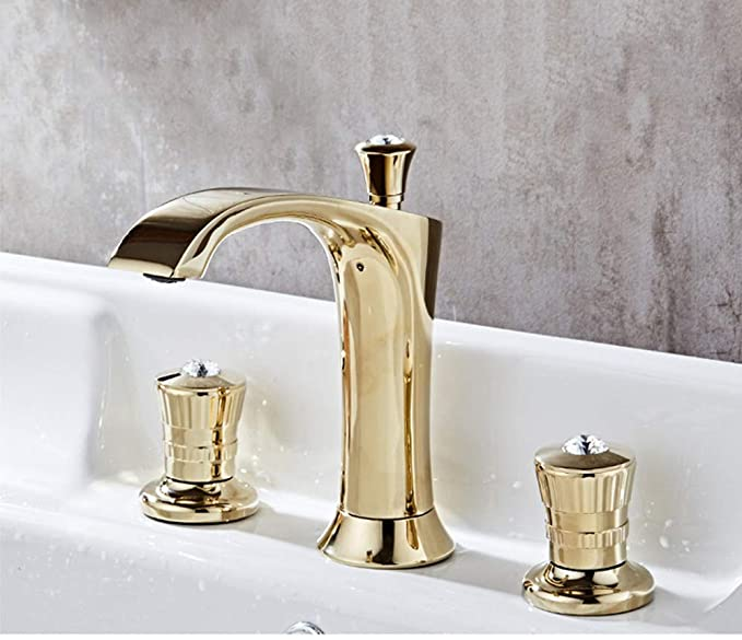 Amazon.com: AXWT Gold Plating Wash Basin Water-tap Cold Heat ...
