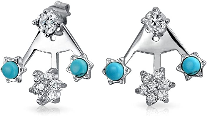 STERLING SILVER ROUND RECONSTITUTED TURQUOISE EARRINGS WITH MICRO PAVE CUBIC ZIRCONIA HALO