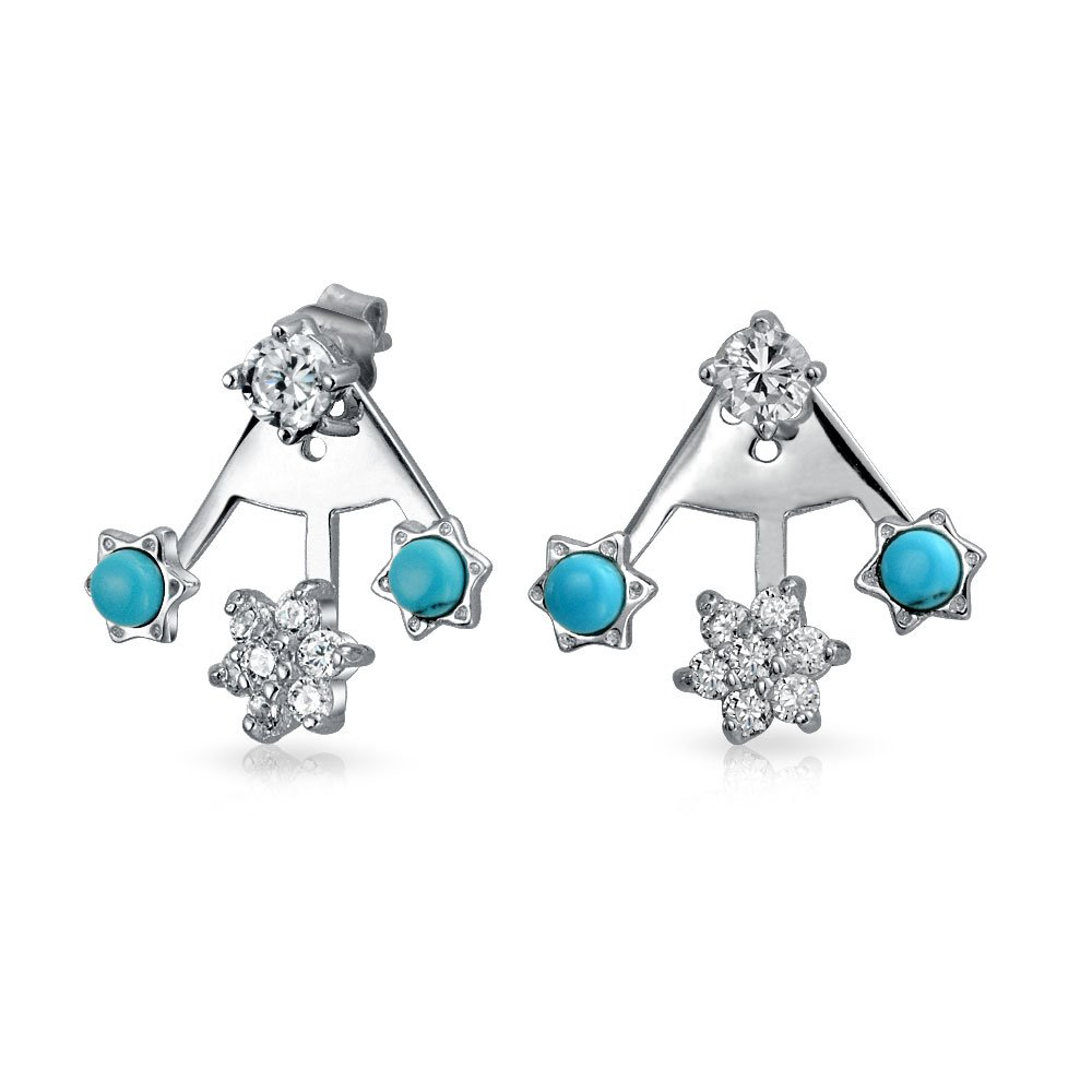 .925 Silver Synthetic Turquoise CZ Modern Flower Ear Jackets