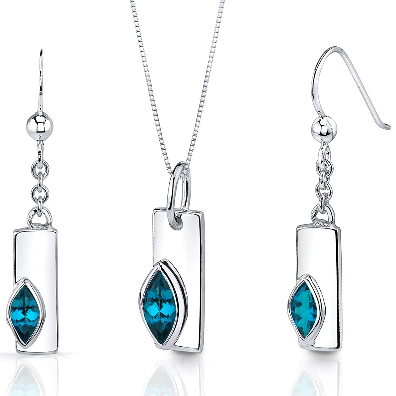 London Blue Topaz Pendant Earrings Necklace Set Sterling Silver Marquise Shape 1.25 Carats