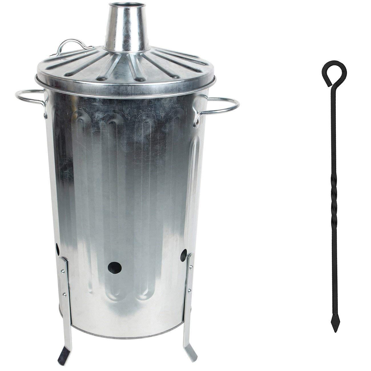 CrazyGadget® 18 Litre 18L Small Garden Galvanised Metal Incinerator Fire Burning Bin for Wood Paper Leaves + Free Ash Poker