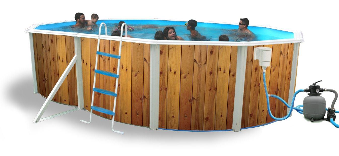 TOI - Piscina desmontable ovalada decorada modelo veta + kit de verano y tapiz - 550X366X120: Amazon.es: Juguetes y juegos