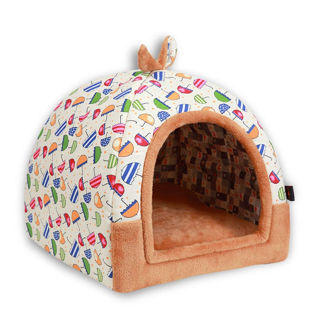 M Winter Warm Dog Bed House Cave Small Size Dogs Tent House Cartoon Cat Bed House Cave (M)