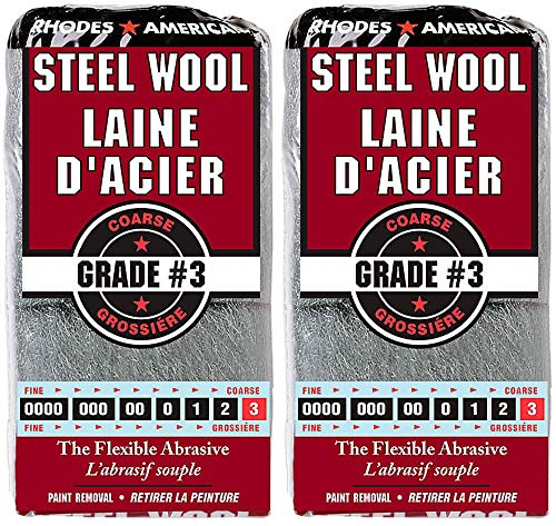 Rhodes American #3 12 Pad Steel Wool (Pack of 2) Helps to Remove Old Paint, Varnish, Lacquer and Shellac in Conjunction with Paint Removers or Strippers by Wool