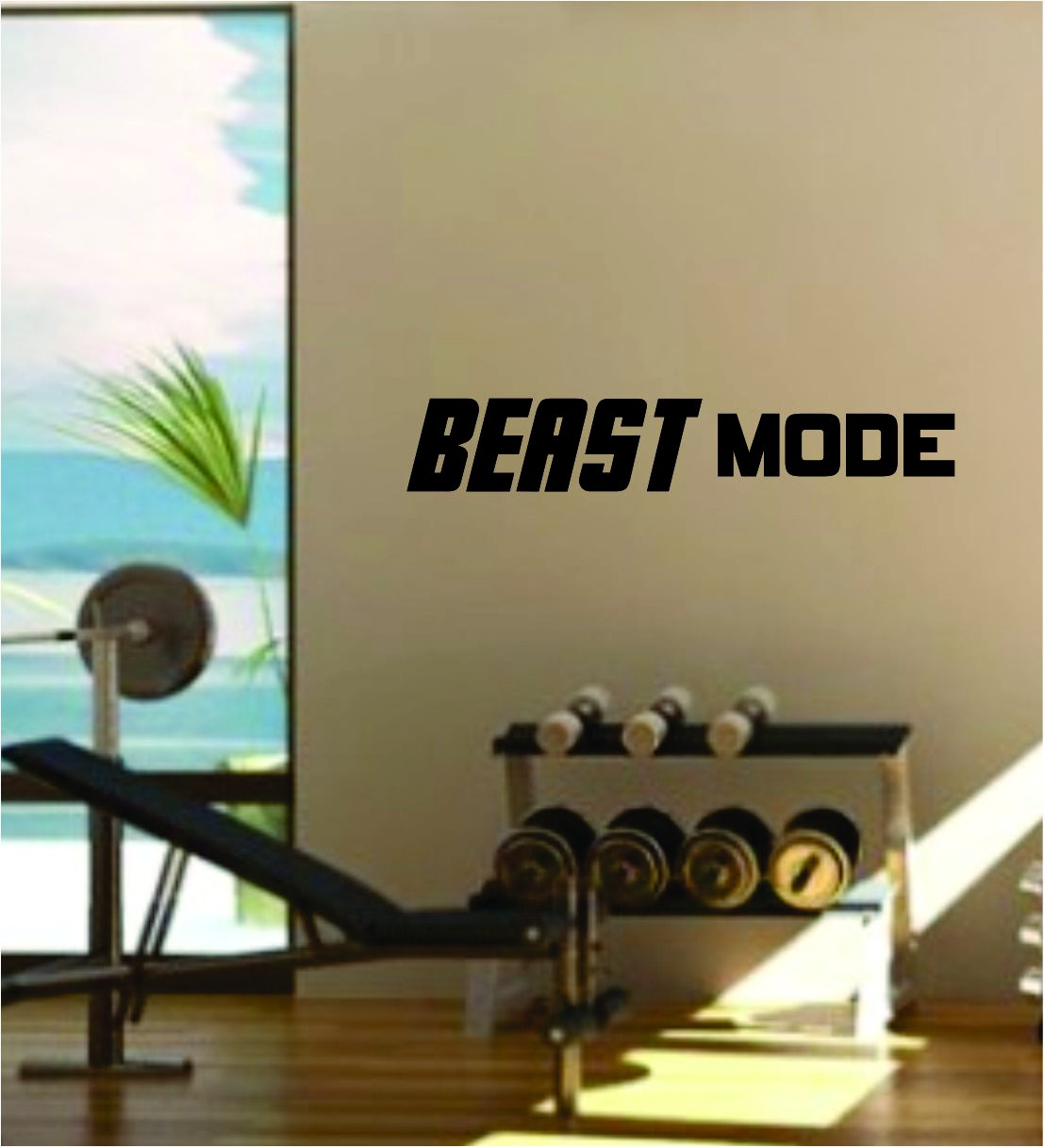 Beast Mode v2 Quote Fitness Health Work Out Gym Decal Sticker Wall Vinyl Art Wall Room Decor Weights Motivation Inspirational by Boop Decals (Image #1)