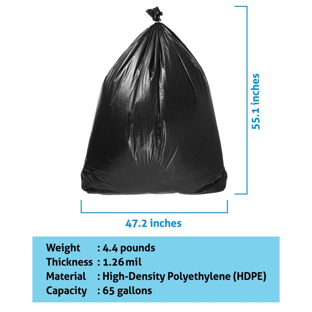 Duty Trash Bag | 50 counts 65 gallons Capacity Heavy-Duty 1.5 mil Thickness No Leak or Tear Weatherproof Low-Density Can Liners | 47'' x 55'' HDPE Puncture-Resistant Black Garbage Bag | 1580 by Big Bag Trash (Image #6)
