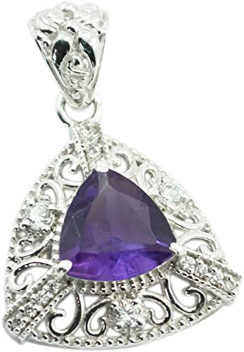 55Carat Natural Amethyst Silver Charms for Women February Birthstone Pendant Chakra Healing Victorian Necklace