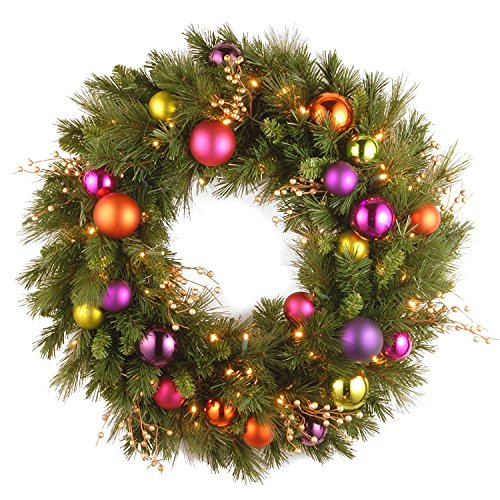(Pre-Lit Dunhill Fir Artificial Christmas Wreath - 30-Inch, Soft White LED Lights )