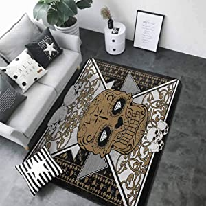 """Door Mat Living Room Non-Slip Tattoo,Skull with Diamond Eyes and Floral Theme Vine Art Tattoo Renaissance Inspired,Brown and Black 80""""x 96"""" Rugs"""