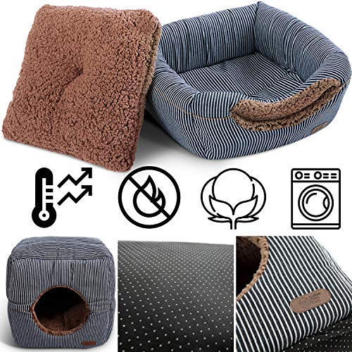 Smiling Paws Pets Unique 2-in-1 Cat Bed/Cat Condo & Cat House | Cat Cube with Organic Cotton & Plush Sherpa Lining | Cat Bed for Indoor Cats | 13