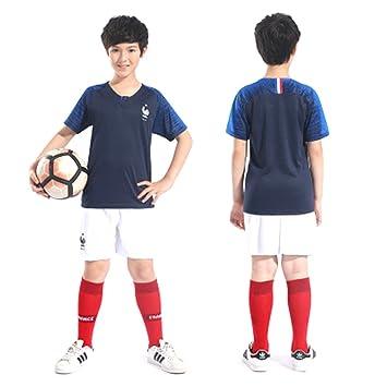 Francia niños Fútbol Jersey 2018 Copa del Mundo Campeón fútbol Fans Jersey: Amazon.es: Deportes y aire libre