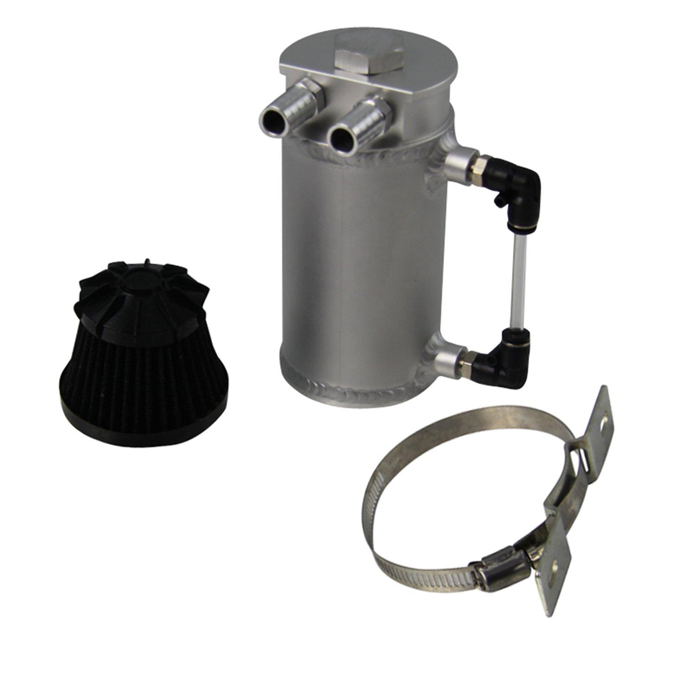 ALLOYWORKS Pro Aluminum Oil Reservoir Catch Can Tank W/ Breather Filter Baffled