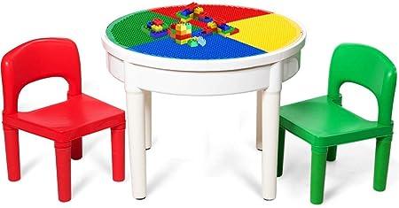Costway - Mesa de actividades para niños, mesa redonda 3 en 1 con ...