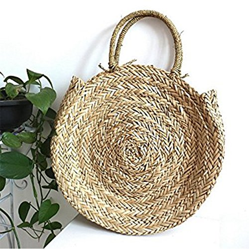 Bag For SODIAL Circle Shoulder Rattan Straw Round Bohemian Bag Summer bag Handmade Beach Vintage Shoulder Bag Women qtFHZrtxw