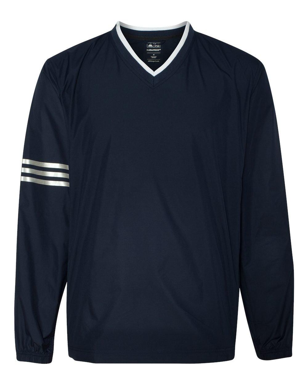 アメリカ版モデルadidas(アディダス)ゴルフクライマプルーフClimaProofウィンドカラーブロックVネックウィンドシャツA147 [並行輸入品] B01CBBT8ZI US XLサイズ 紺紺(ネイビーネイビー) 紺紺(ネイビーネイビー) US XLサイズ