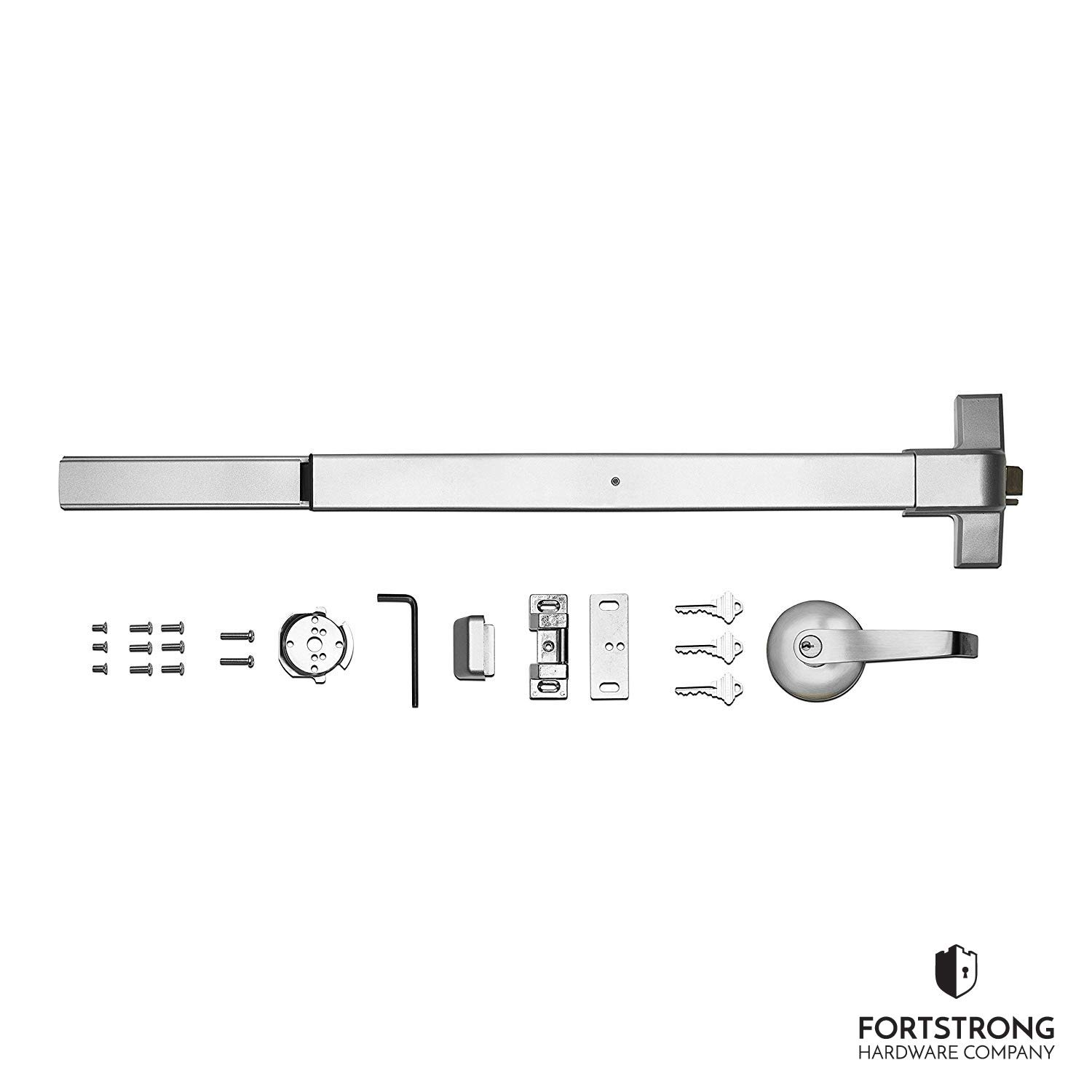 Panic Bar Exit Device - Push Bar for Exit Doors & Exit Lever with Key - UL Listed - Aluminium Silver Finish - Fitting Instructions by Fortstrong Hardware Company (Image #7)