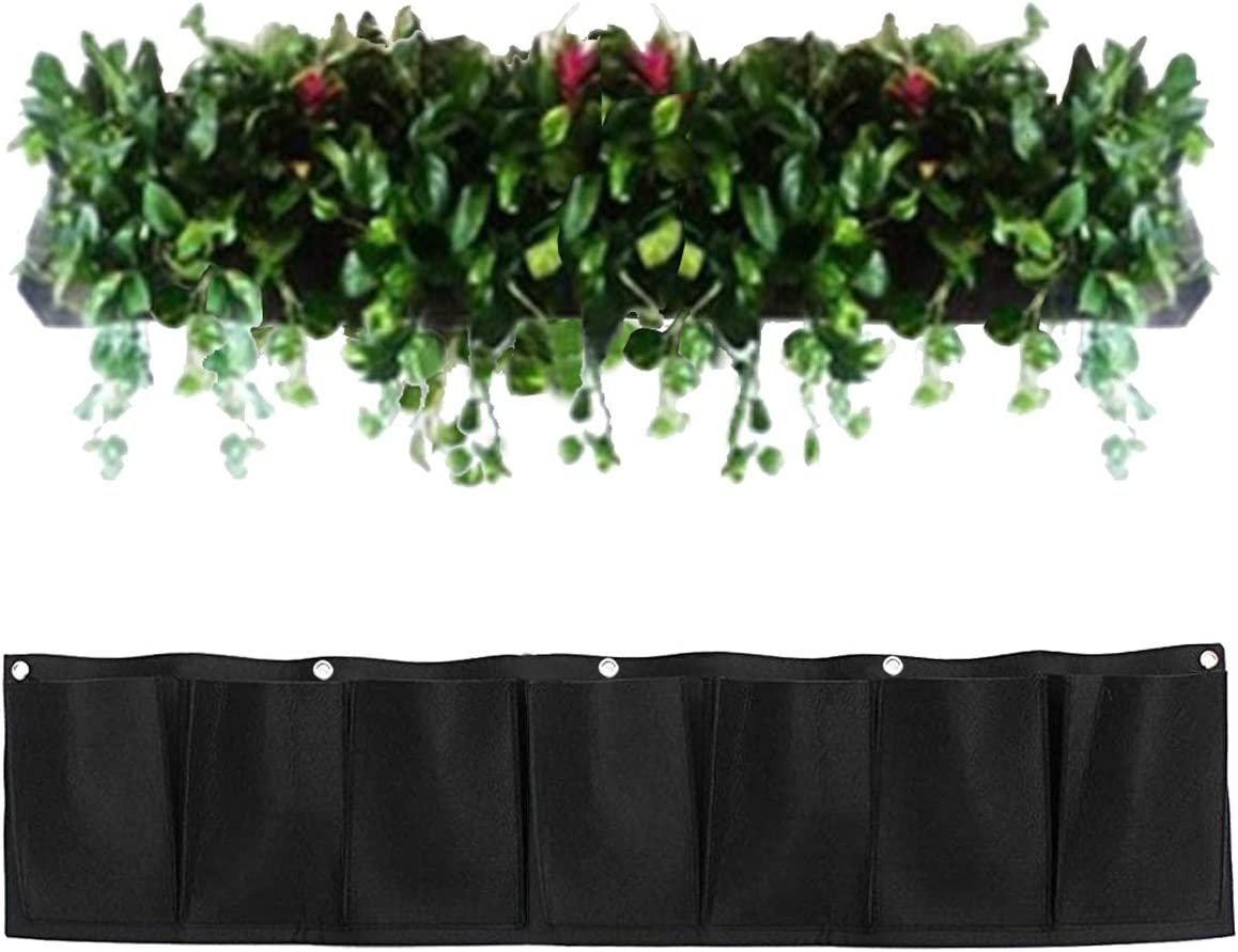 Amgate 7 Pockets Wall Hanging Planter Bags - Garden Horizontal Wall-Mounted Felt Plant Grow Bag for Flower Vegetable