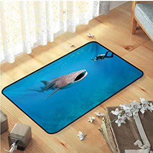 "Shark Bath Mats, Giant Whale Shark and Underwater Photographer in Wildlife Diving Image Floor Rugs Printing Door Mat for Dining Room Home Bedroom Decoration, W29""x L39"" Violet Blue Pale Grey"
