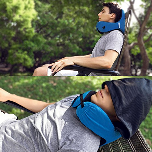 LANGRIA 6-in-1 Memory Foam Neck Support Travel Pillow with Detachable Hood Adjustable Neck Size for All Ages Side Elastic Pocket Neck Travel Cushion for Plane Train Car Bus Office (Blue) by LANGRIA (Image #5)