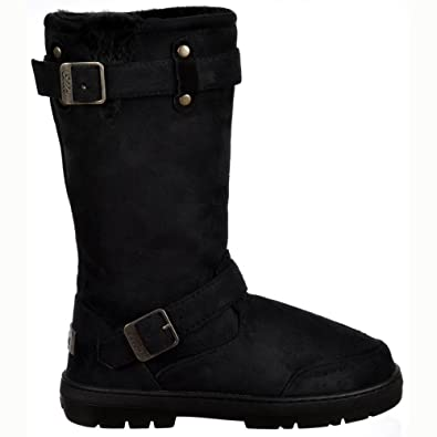 26d56b6335e78 Ladies Womens Ella Biker Fur Lined Flat Winter Snow Boot - Chestnut Brown