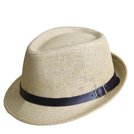 Outflower Sombrero de Paja de Tapa Plana para Niños de Primavera y Verano  Gorra de Protección 40a0099e700