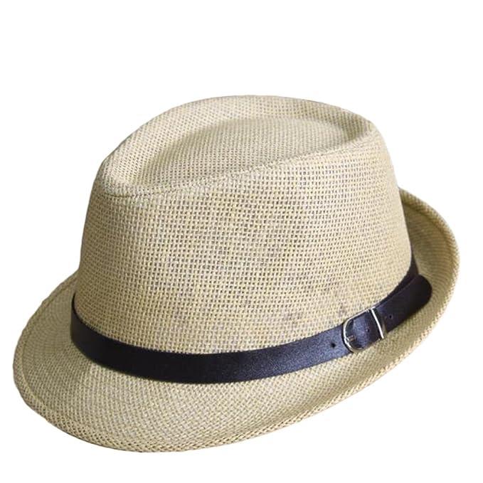 dc27088dbe139 Leisial Sombreros de Jazz de los Niños Sombrero de Paja Playa Sombrero del Sol  Gorro de Viaje Verano para Unisex Niños Bebé Beige  Amazon.es  Ropa y ...