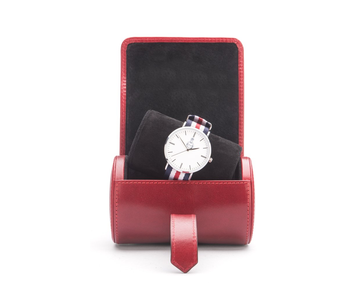 SAGEBROWN Red With Black Small Watch Roll